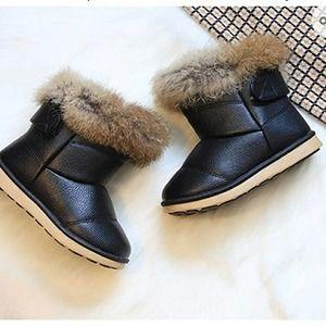 ⚆Toddler Black Faux Fur Lined Bo